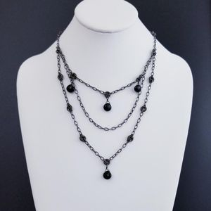 N1611 Retired Silpada Black Chalcedony Necklace